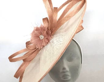 KATE Ivory & Latte Nude Disc Hatinator Fascinator Hat - Weddings Mother of the Bride Royal Ascot Kentucky Derby Ladies Day Epsom Derby