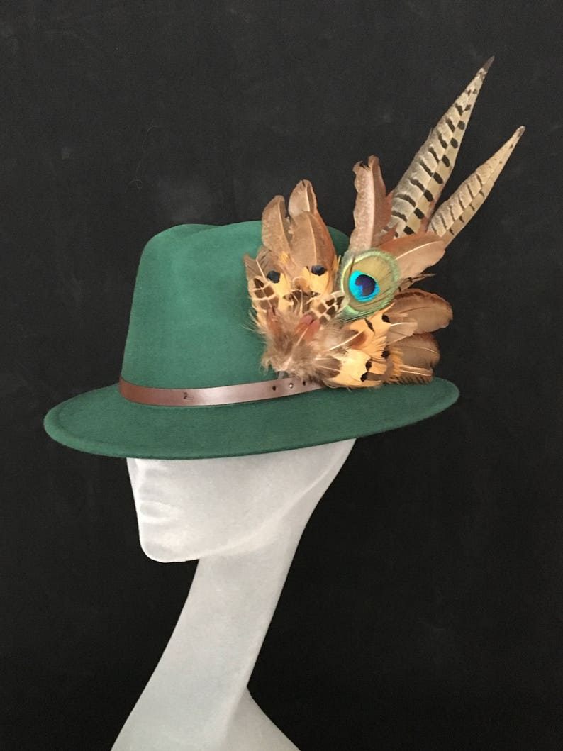 a770907c2df9c ARABELLA Ladies Green Wool Felt Trilby with Pheasant Feather