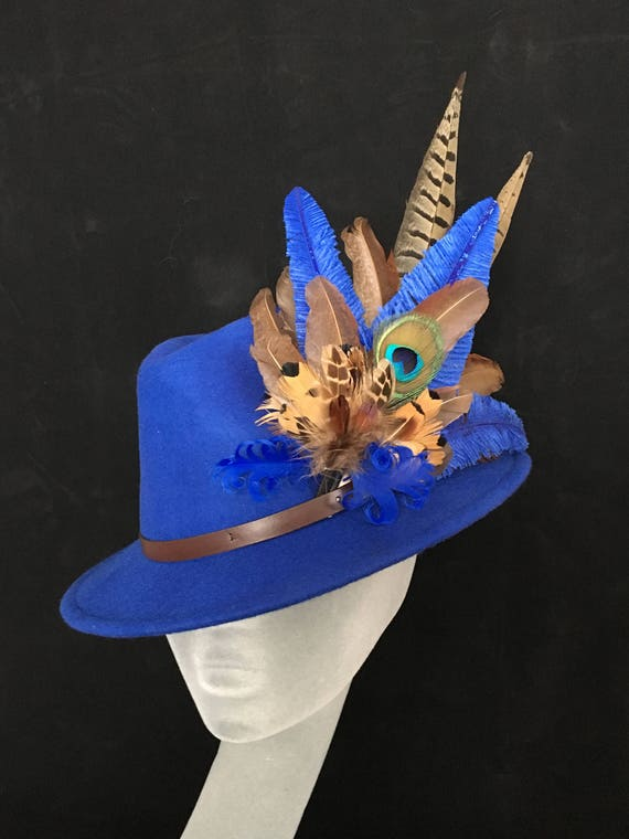 cf5ed597ed241 ARABELLA Ladies Blue Wool Felt Trilby with Pheasant Feather