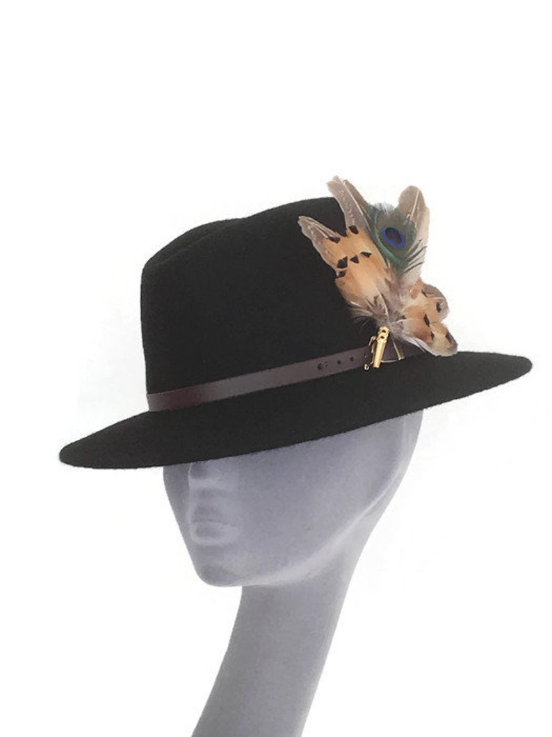 bb54ee3372a0d ARABELLA Ladies Black Wool Felt Trilby with Pheasant Feather