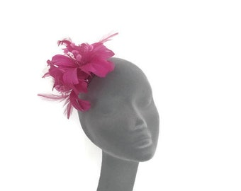 TRIXIE - Purple  Feather Flower Fascinator Hair Clip Hat Hatinator - Perfect for Weddings Royal Ascot Kentucky Derby Ladies Day Races