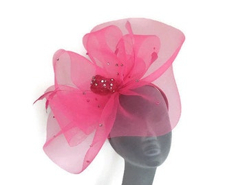 KATIE - Pink Fascinator Hatinator Hat Headpiece - Weddings Mother of Bride Kentucky Derby Royal Ascot Epsom Derby Ladies Day Races