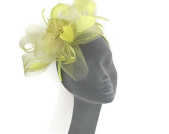 ANAIS - Pretty Lime Green Fascinator Hat Hatinator Headpiece for Weddings Kentucky Derby Royal Ascot Epsom Derby Ladies Day Races