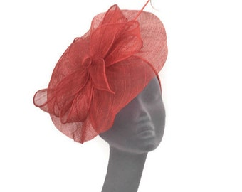 LILLY -  Burnt Orange Fascinator Hatinator Hat Headpiece for Weddings Mother of Bride Kentucky Derby Royal Ascot Epsom Derby Ladies Day