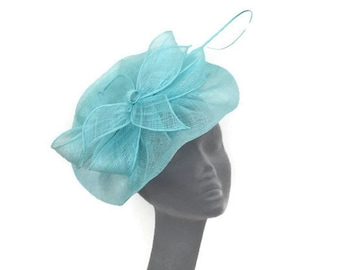 LILLY -  Turquoise Blue Green Fascinator Hatinator Hat for Weddings Mother of Bride Kentucky Derby Royal Ascot Epsom Derby Ladies Day