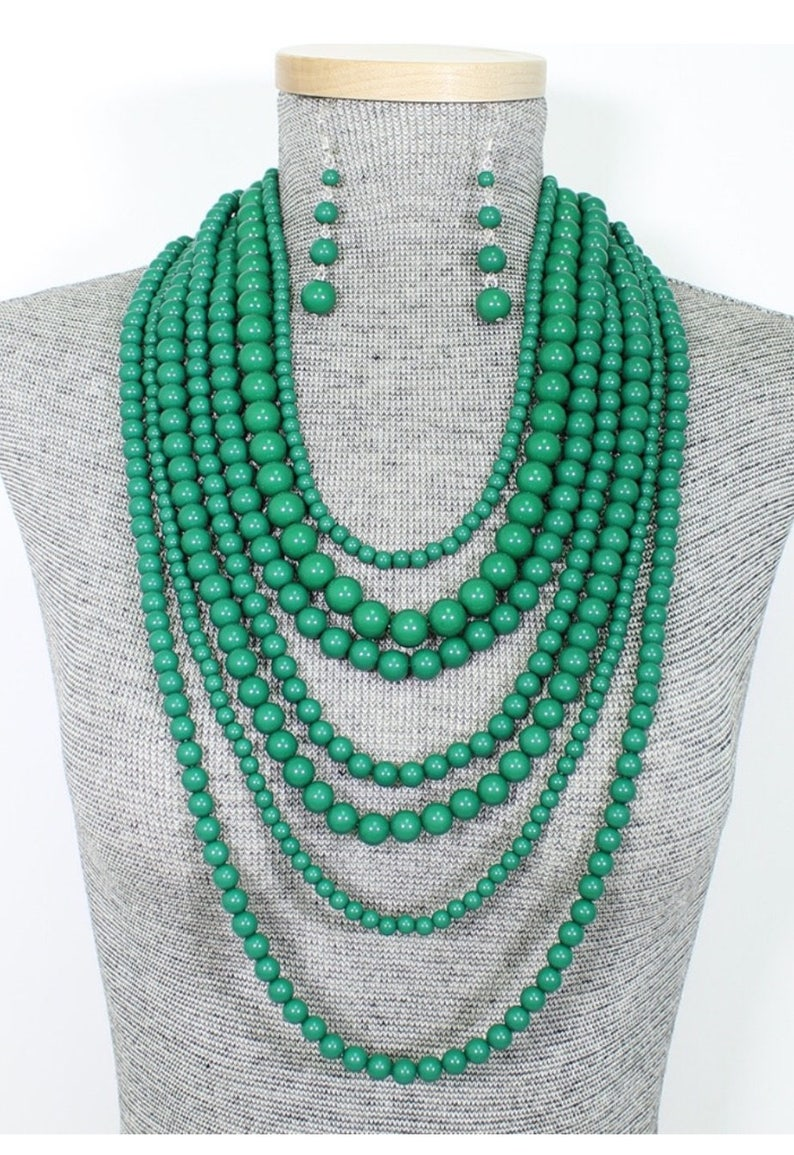 Longed Beaded Muti Strand Necklace and Earring Set