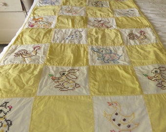 """Embroidered Cotton Cross Stitch Animals  Baby Quilt Crib Size 54""""L x 29""""W Yellow"""