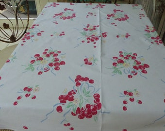 Vtg White Cotton Tablecloth w/Cherries,Strawberries,Raspberries Blue Bows and Yellow Blossoms MC