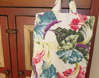 "Vintage Cotton Bark Cloth Tote Bag White w/ Tropical Multi colored Leaves 1950's 17.5""Lx 14""W"