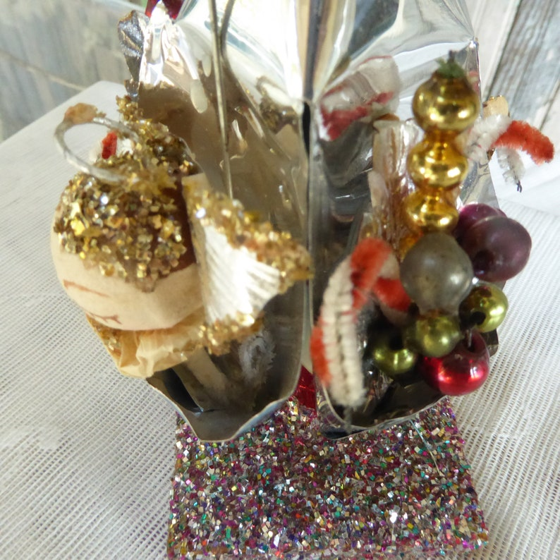 Vintage  Silver Foil Cones  Christmas Ornament  Angels  Mercury Glass Beads Floral  Mica Base  194050s Collectable