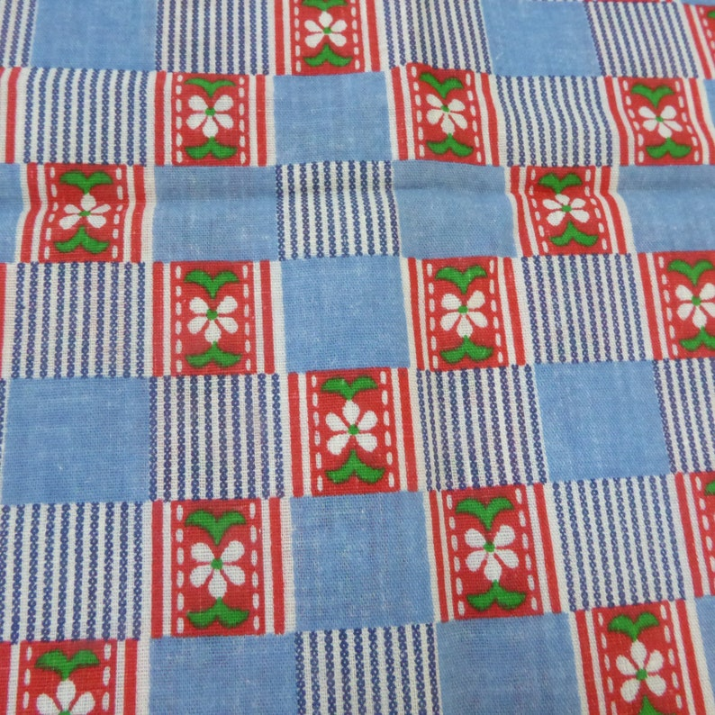 Vintage  Fabric  Blue White Stripe Blue Squares  Red wWhite Flowers  2 12 Yds 5 x 44W 1960s Fabric Traditions