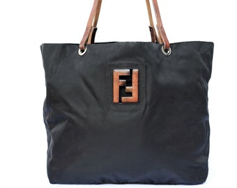 e962b6fbfa FENDI vintage black nylon 90s shopper bag with leather details FF logo handbag  shoulder bag