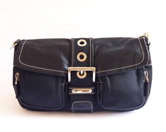 PRADA black nylon and leather shoulder bag authentic 2b1272492a9e4