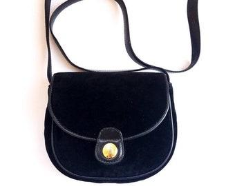 a0126a92dc CELINE Paris vintage black velour leather shoulder bag golden buckle logo