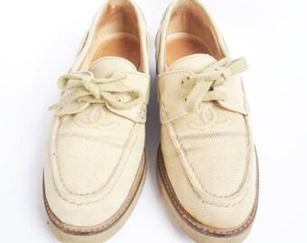 db2e97c334c Sable de logo CC Chanel vintage toile formateurs de chaussures bateau tissu