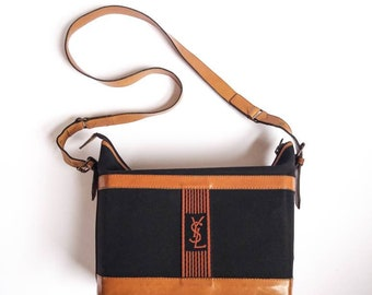 6fd1ae8f89 Yves Saint Laurent vintage 70s leather and canvas shoulder bag / rare model  / brown blue / authentic YSL