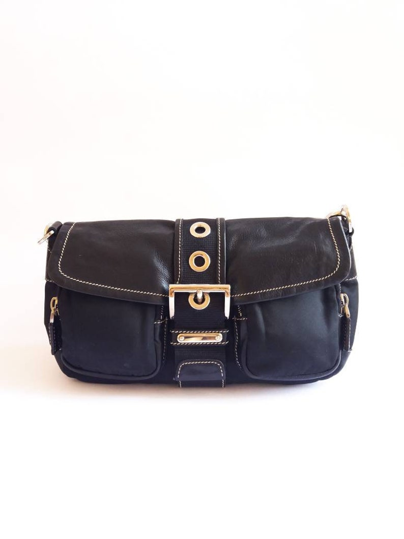 a5e7dacb8077 PRADA black nylon and leather shoulder bag authentic