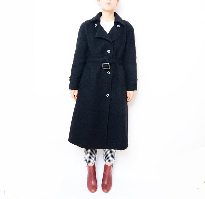 Vintage black wool long women 90s coat // small eu36 image 0