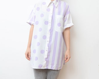 Vintage white button up shirt with lilac stripes and dots