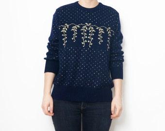 Vintage dark blue pullover with shiny golden threads