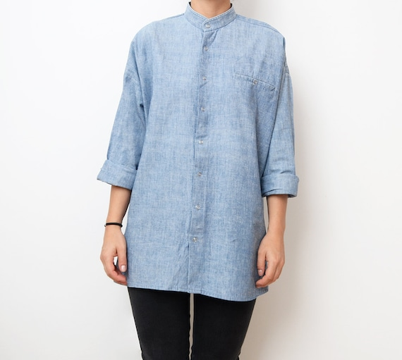 Vintage light blue denim women 80s tunic shirt