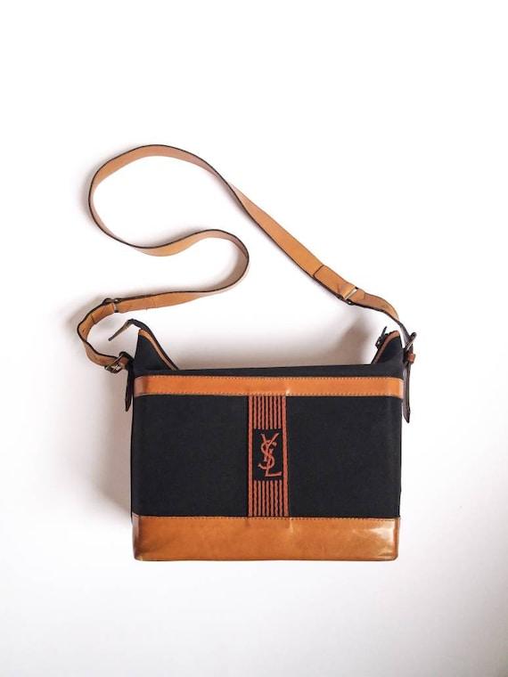 d49c6ab0e2 Yves Saint Laurent vintage 70s leather and canvas shoulder bag | Etsy