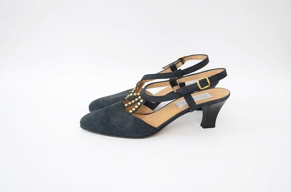 Vintage black suede 90s strappy pumps with golden