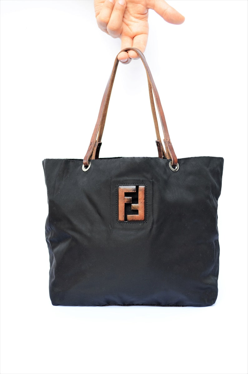 007cfb9eb1 FENDI vintage black nylon 90s shopper bag with leather details