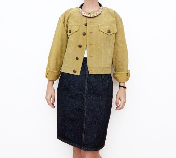 Vintage suede mustard cropped women jacket / small