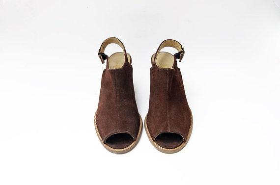 Vintage suede brown peep toe heeled strap 90s mul… - image 2