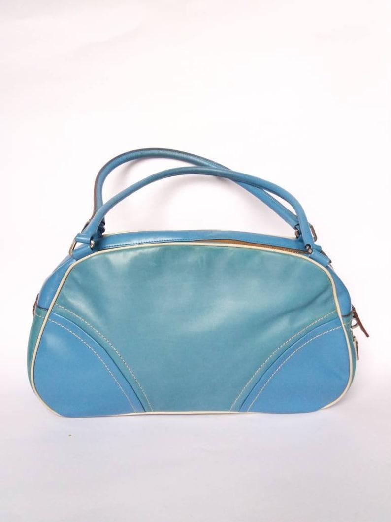 6855504e97c43f PRADA vintage blue sky leather shoulder bag hand bag with lock | Etsy
