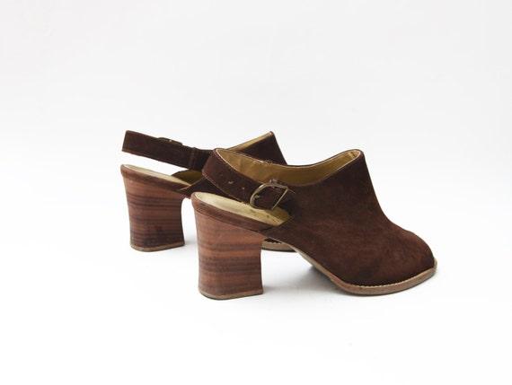 Vintage suede brown peep toe heeled strap 90s mul… - image 3