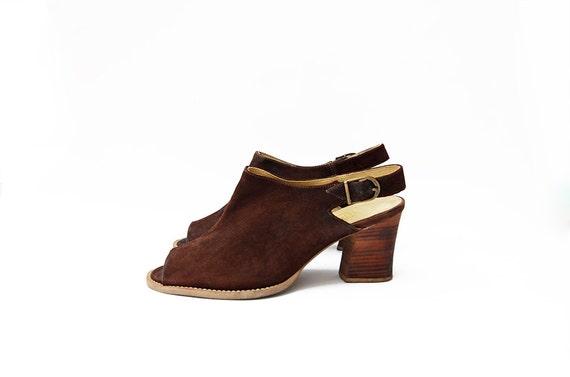 Vintage suede brown peep toe heeled strap 90s mul… - image 1