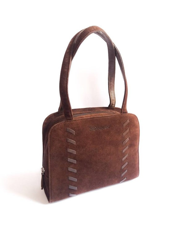 YSL Yves Saint Laurent chocolate brown suede handb
