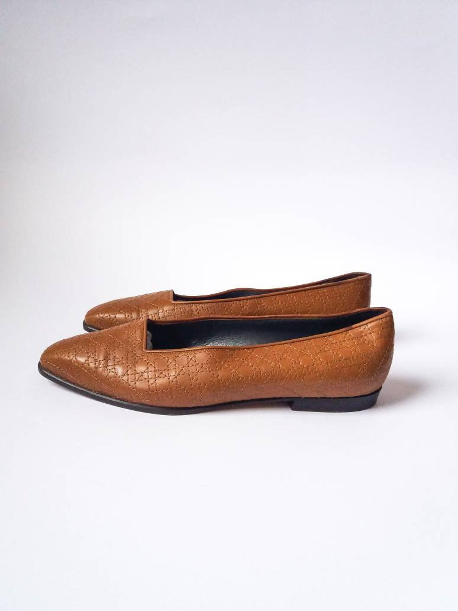 christian dior vintage brown leather flats shoes ballet slip ons