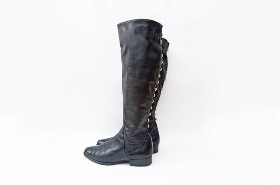 Vintage black leather italian riding