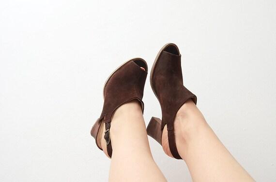 Vintage suede brown peep toe heeled strap 90s mul… - image 4