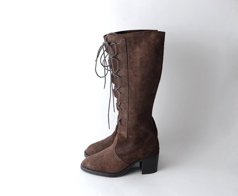 Vintage chocolate Marrón Marrón Marrón ante heeled 90s grunge Mujer  botas    knee height  US5.5 EU36 7aa76d
