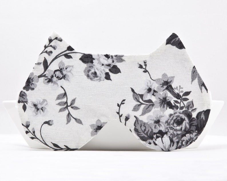 ea3e56392 Floral Sleep Mask White Travel Sleep Mask Cat Lover Gift