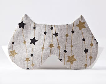 Sleep Mask with Golden and Black Stars, Cat Lover Gift, Beige Sleep Mask, Eye Mask, Beige Cat Ears, Gifts for Her Under 20, Girlfriend Gift
