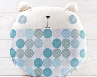 Blue Baby Shower Gift, Bear Polka Dot Pillow, Blue Round Pillow, Floor Cushion, Baby Boy Bedding, Nursery Decor Blue, Cute Housewarming Gift