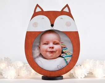 New Mom Gift, Fox Picture Frame, Orange Nursery Decor, Baby Shower Gift, Newborn Gift, Baby Room Decor, Wooden Children Frame, Fox Decor