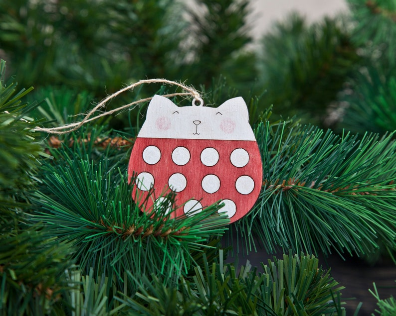 Red Christmas Decorations Cat Polka Dot Christmas Ornaments Red Holiday Ornaments Wooden Cats Christmas Gifts Red Cat Xmas Ornament Set of 3