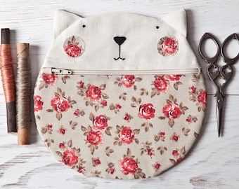 School Supplies, Round Cosmetic Bag, Olive Makeup Bag, Cat Bag, Floral Zipper Pouch, Cat Lover Gift, Cat Purse, Girlfriend Gift