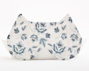 Blue Cat Sleep Mask, Cat Lover Gift, Cotton Eye Mask, Floral Sleeping Mask, Gifts for Women, Bridesmaid Gift, Sleepover Party Supplies