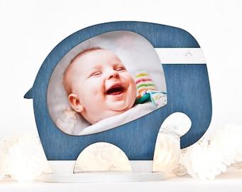 Wooden Photo Frame, Dorm Decor, Elephant Picture Frame, Blue Home Decor, Gifts for Grandma, Baby Boy Frame, Baby Shower Gift, Newborn Gift