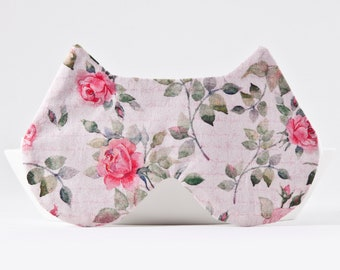 Roses Sleep Mask for Women, Cat Sleep Mask, Soft Eye Mask, Cat Lover Gift, Pink Sleep Mask, Gifts Her Under 20, Rose Gold Bridesmaid Gift