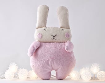 Pink Fluffy Bunny Toy, Pink Nursery Decor, Toddler Toys for Girls, Baby Shower Gift, Stuffed Rabbit Toy, Easter Bunny, Newborn Girl Gift