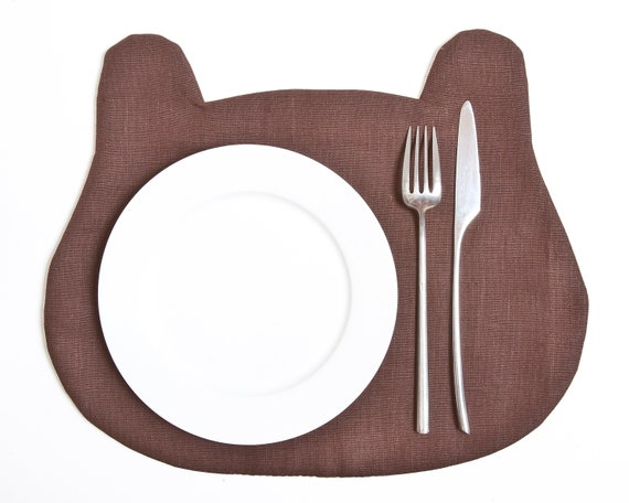 Baby Shower Favors Gift for Boyfriend Brown Kitchen Decor Bear Fabric placemat Table Linens Table Mats Linen Placemat