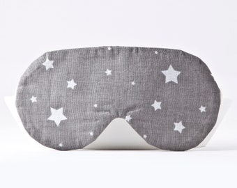 Gray Sleep Mask with Stars, Travel Gifts for Women, Sleeping Mask, Blindfold with Stars, Gifts for Her Under 20, Womens Sleep Mask